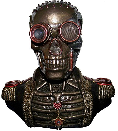 (Steampunk Mechanical Skull with Gear Brain Band Uniform Bust Double Trinket Secret Stash Box Statue Sculpture)