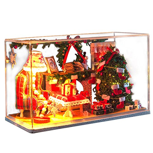 Famulei Wooden Dollhouse with Furnitures DIY Assembling House Miniature Crafts Toys for Children and Teens LED Light Handmade Dollhouse For Gift, Plus Dust Proof,Red Christmas House