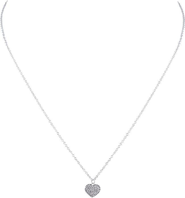 SIX 925er Silber Kette mit Herzanhänger