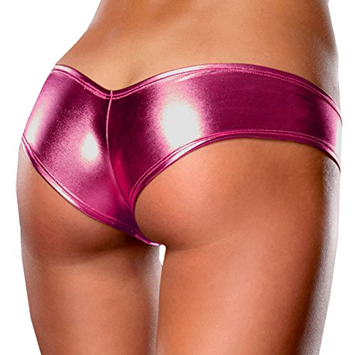 Oliveya Womens Sexy Hot Pink Panties Leather Underpant Briefs G-String Thong, Rose Red, X-Large (Low Cut Very Sexy Hot)