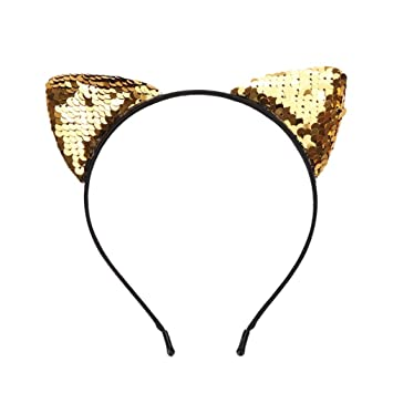 cb78c5964cd51 Amazon.com   Reversible Sequin Cat Ears Headband Shiny Cat Ear Hair Hoops  Cute Bling Kitty Hairband Hair Accessories for Women Girls Daily Wearing  and Party ...