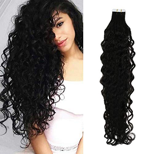 RUNATURE Wavy Human Hair Tape in Extensions #1B Off Black 20Pcs/40g 14