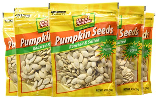Good Sense Pumpkin Seeds, Roasted & Salted In-Shell, 4.5-Ounce Bags (Pack of 12)