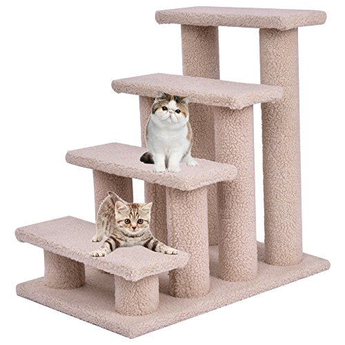 Beige Cat Climber Kitten Steps Pet Stairs Ramp Multi-Platform with 8 Posts