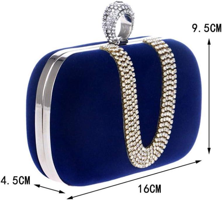 N/A NA Abendessen-Beutel, Frauen Kupplungen schürzt Kristall-Diamant-Umschlag-Perlen Abend Hochzeit Abend-Handtasche (Color : Blue) Blue
