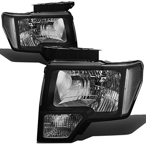 For Ford F-150 12th Gen Pair of Black Housing Clear Corner Headlight Lamps Lighting Kit Black Headlights Clear Corner