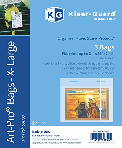 Plastic Portfolio Bags w/ Reinforced handles & closures. Help keep Paintings, Photos, School Projects, etc. dust free & dry. Heavy 2 mil plastic. Fits artwork up to 24''x36'' • 3/pk by Kleer-Guard