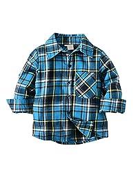 SNOW DREAMS Boys Plaid Button Down Shirt Turn-Down Collar Long Sleeve Cotton Tops