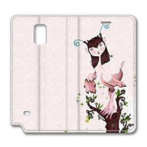 Brain114 Fashion Style Case Design Flip Folio PU Leather Cover Standup Cover Case with Bird Wall Pattern Skin for Samsung Galaxy Note 4