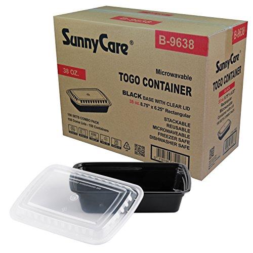 Rectangular Black Container (SunnyCare #B9638 Black 38 oz. Rectangular Microwavable Container with Lid - 150 / Cs)