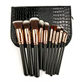 #3: Makeup Brushes Set Kit Professional Travel Rose Gold Real Techniques Cheap 11Pcs with Case Bag Organizer Crocodile Skin