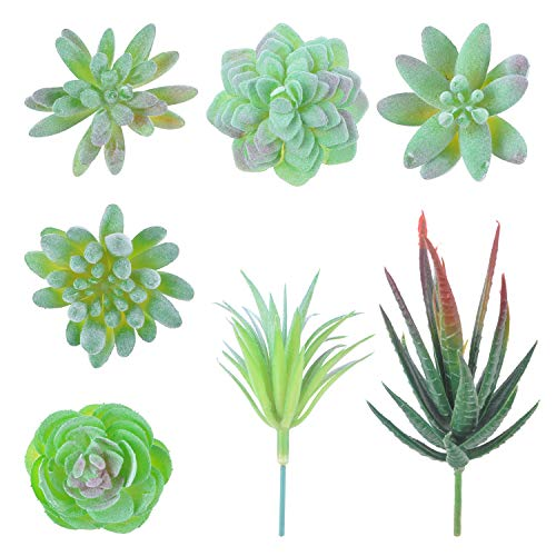 ideapro 7 Pcs Mini Artificial Succulent Plants, Fake Succulent Plants Unpotted Faux Succulent Plants Different Type and Size Succulents Agave Floral Arrangement