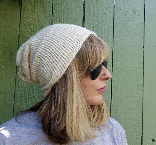 Handmade Ivory Alpaca Cotton Oversized Slouchy Beanie Hat