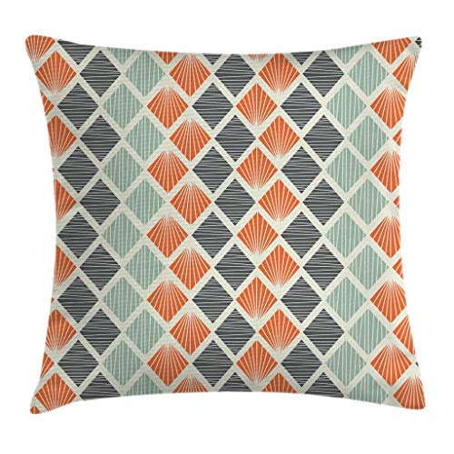 "Ambesonne Geometric Throw Pillow Cushion Cover, Pop Art Style Retro Rhombus Fractal with Stripes Nostalgic Graphic Print, Decorative Square Accent Pillow Case, 20"" X 20"", Green Orange"