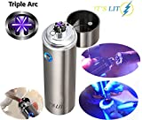 Triple Plasma Lighter- Electric Triple Arc Lighter- Flat Surface Wide Arc Design For Pipes Cigars and More -Windproof Electric Lighter- Rechargeable- Gift Box & One Year Warranty Card (Triple Arc)