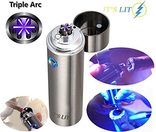 (Triple Plasma Lighter- Electric Triple Arc Lighter- New Flat Surface Wide Arc Design For Pipes Cigars and More -Windproof Electric Lighter- USB Rechargeable- Cable, Gift Box and Warranty Card)