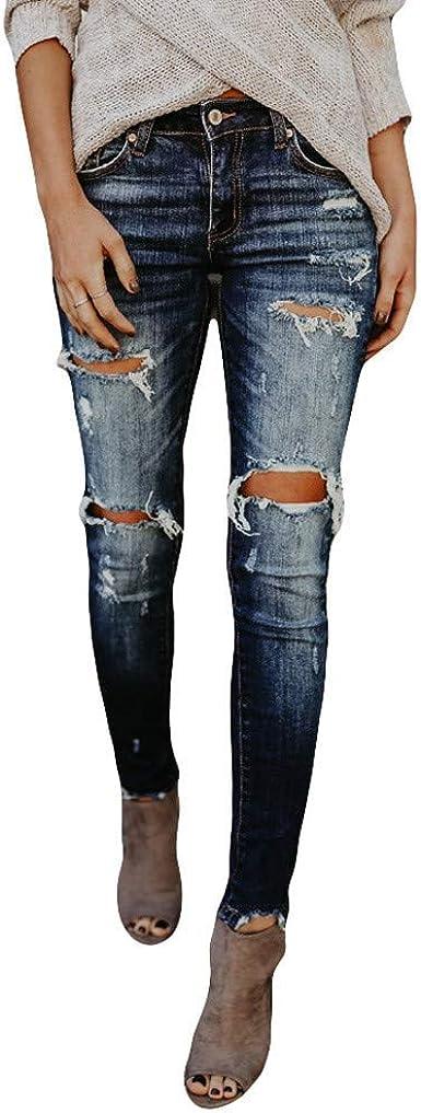 Zezkt Vaqueros Rotos Mujer Moda Slim Fit Pantalones De Mezclillade Push Up Lapiz Jeans Elastico Skinny Vaqueros Cintura Media Leggings Comodo Y Suave Pantalon Otono Amazon Es Ropa Y Accesorios