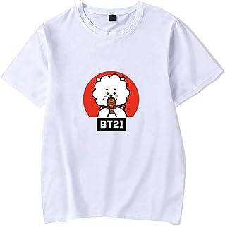 APHT Unisex BTS KPOP BT21 Top für Liebespaar Herren Damen Jugendliche Cooky Nettes Karikaturmuster Tee T-Shirt Hip Pop Tops Jimin V Jung Kook Für Männer Frauen Teen
