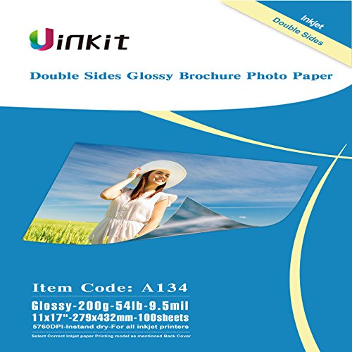 - Uinkit Cardstock Double Sided Glossy Photo Paper 100 Sheets 11x17 Inches 9.5Mil 200g for Inkjet Printing Only
