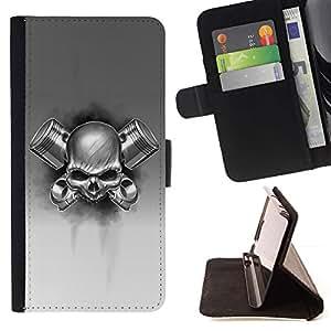 Momo Phone Case / Flip Funda de Cuero Case Cover - Black White Death Metal Rocher - MOTOROLA MOTO X PLAY XT1562