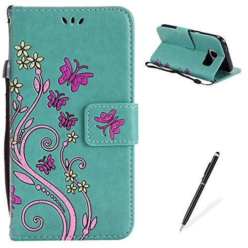 Ballet Embossed Wallet - Samsung Galaxy S7 Case,MAGQI Premium Slim Fit Flip PU Leather Stand Wallet Book Style Case with Card Slots Magnetic Closure Embossed Rose Flower Butterfly Pattern Cover - Green