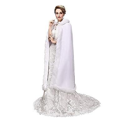 399d18873 Noriviiq Women s Tea Length White Faux Fur Winter Hood Wedding Cloak ...