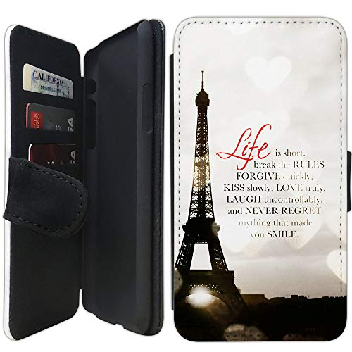Flip Wallet Case Compatible with iPhone XR (Life is Short Romantic Paris Effiel) with Adjustable Stand and 3 Card Holders | Shock Protection | Lightweight | Includes Free Stylus Pen by Innosub (Paris Short)