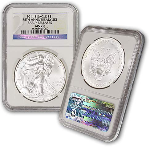 2011 S American Silver Eagle $1 MS70 NGC Early Releases-25th Anniversary