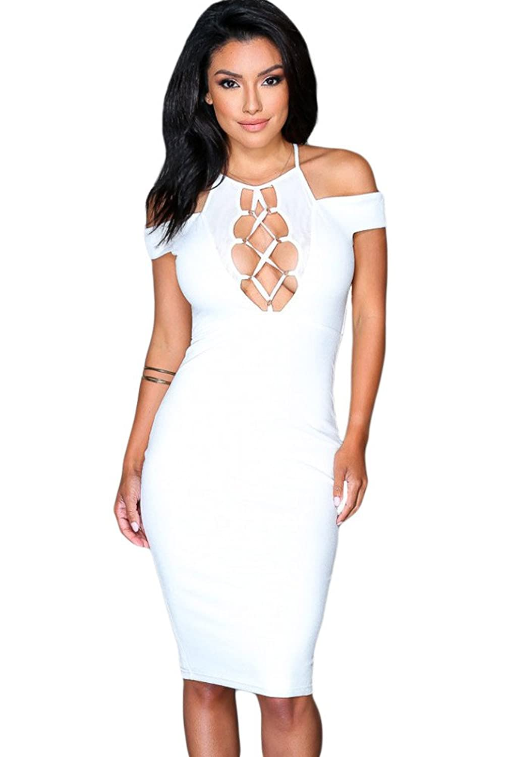 Nightwalker Bodycon Lace-up Strappy Hollow-out Short Sleeve Midi Dress