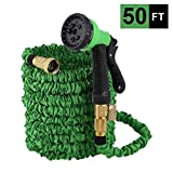 OKWINT 50 FT Garden Hose Expandable Water Hose with Double Latex Core, 3/4 Solid Brass Fittings, Durable Outdoor Gardening Flexible Hose for Yard, 8-Mode High Pressure Spray Nozzles