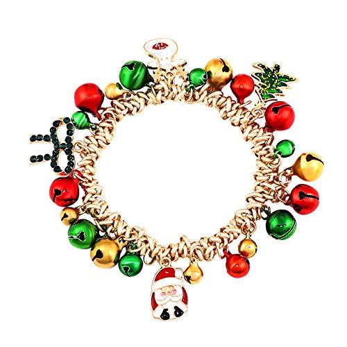 PHALIN JEWELRY Christmas Bracelets X-Mas Jingle Bells Charm Bracelets Women Beaded Stretch Bracelet Girls