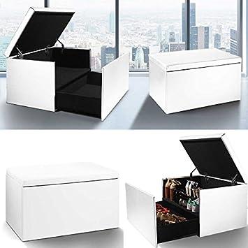 IDMarket - Coffre rangement banquette luxe blanc spécial ...
