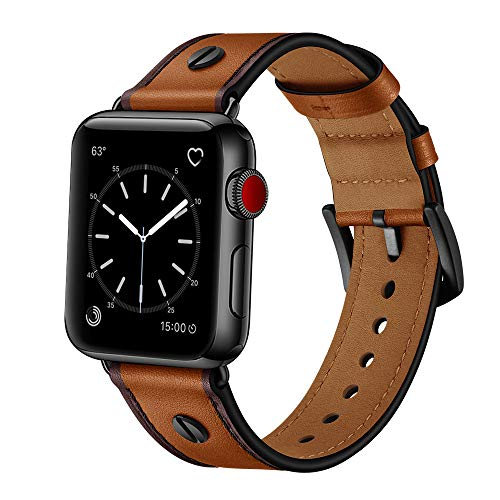 OUHENG Compatible with Apple Watch Band 42mm 44mm, Genuine Leather Band Replacement Strap Compatible with iWatch Series 4 Series 3 Series 2 Series 1 44mm 42mm, Light Brown
