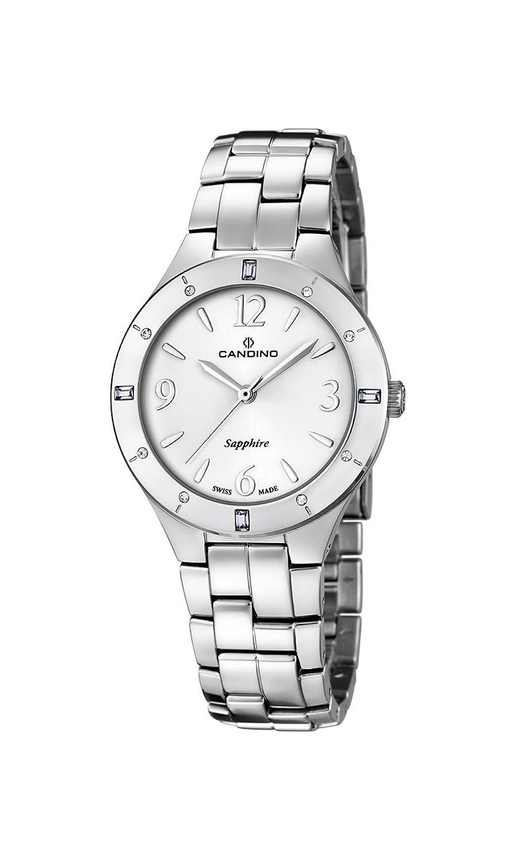 Candino Damen Quarzuhr mit weißem Zifferblatt Analog-Anzeige und Silber Edelstahl Armband C4571-1