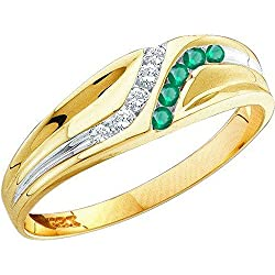 14K Yellow Gold Round Cut Emerald & White Diamond Mens Channel Set Fashion Wedding Band