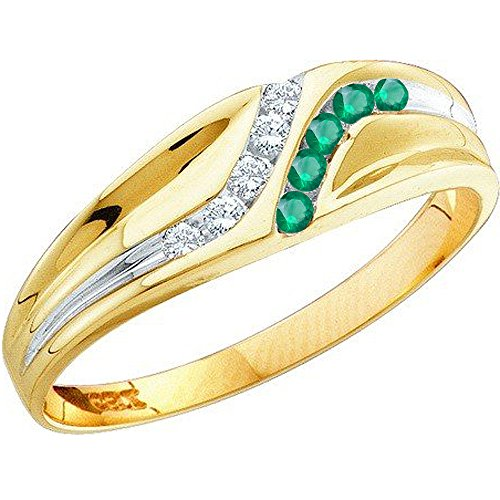 14K Yellow Gold Round Cut Emerald & White Diamond Mens Channel Set Fashion Wedding Band (Size (Emerald Gold Mens Bands)