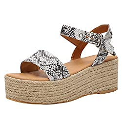 Hulkay Wedge Sandals For Women??�new Upgrade Ankle Strap Open Toe Sandals??�womens Casual Platform Espadrille Sandal Gray Us 7 5 Cn 40