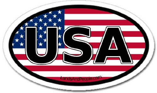 LandsAndPeople.com United States of America USA Flag Car Bumper Sticker Decal Oval - Oval Vinyl Sticker