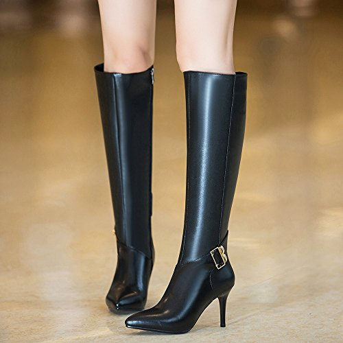 Ladies Fashion Zip Pointed Toe Stiletto Genuine Leather Buckle Strap High Heels Black Knee-high Women Boots Black Ogn9ba