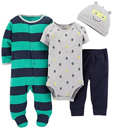 Carter's Baby Boys' 4 Piece Striped Layette Set (Baby) - Green/Navy - Newborn (Green Layette)