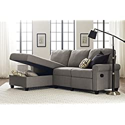 Serta Copenhagen Reclining Sectional with Left Storage Chaise - Moonlight Gray