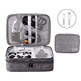 OrgaWise Large Travel Cable Organizer Bag Electronics Accessories Case Three-Layer for iPad Mini, Kindle, Hard Drives, Cables, Chargers(Three-Layer-Grey)