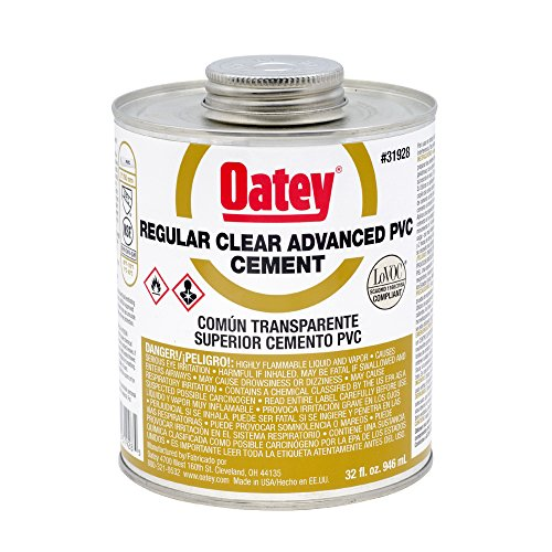 Clear Pvc Cement (Oatey 31928 PVC Regular Advanced Cement, Clear, 32-Ounce)