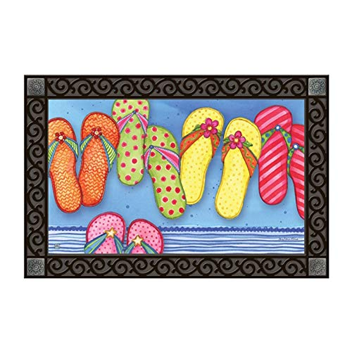 Studio M MatMates Favorite Flip Flops Summer Whimsical Decorative Floor Mat Indoor or Outdoor Doormat with Eco-Friendly Recycled Rubber Backing, 18 x 30 Inches