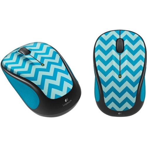 Logitech M325c Wireless Optical Mouse, Teal Chevron - Flash Mouse Scroll