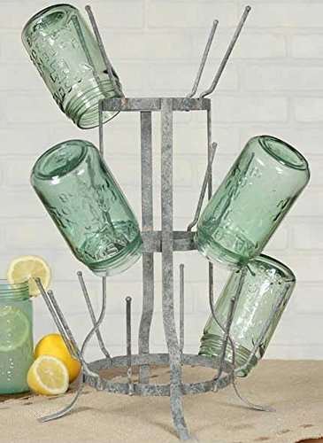 Wine Bottle / Beer Bottle Holder Drying Rack - Vintage Gray - 16 Piece Capacity by Colonial Tin Works