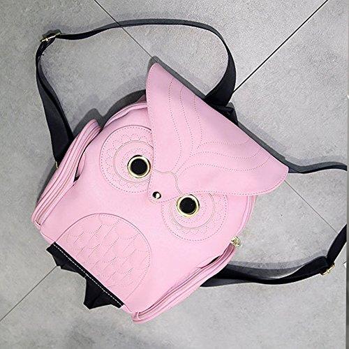 Fashion black Girl's Leather Bag Cartoon Pu Backpack Mini Pink Owl tS8rqS