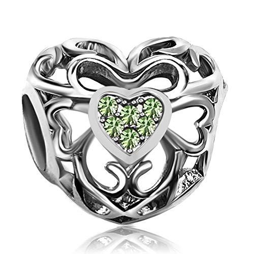 (JMQJewelry Heart Signature August Birthstone Green Love Charms Beads for Bracelets Grandma Gifts)