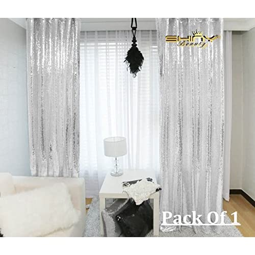 ShinyBeauty 2ftx8ft-Silver Sequin Fabric Backdrop For Photography Curtain, Cutain Panels for Window