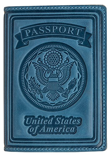 Villini 100  Leather Us Passport Holder Cover Case For Men Women In 9 Colors  Light Blue Vintage